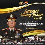 Selamat Ulang Tahun ke 58 Komjen Polisi Ari Dono Sukmanto